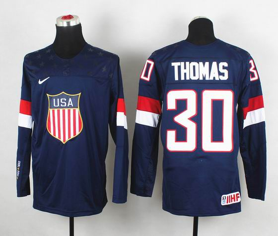 2014 IIHF Ice Hockey World Championship jersey 30# Thomas blue
