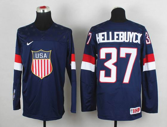 2014 IIHF Ice Hockey World Championship jersey 37# Hellebuyck blue