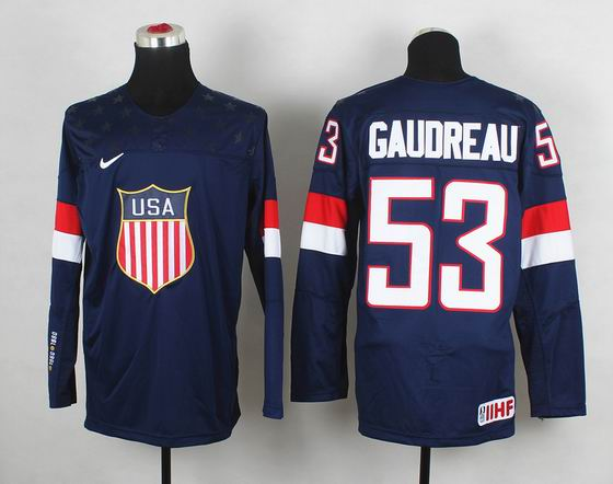 2014 IIHF Ice Hockey World Championship jersey 53# Gaudreau blue