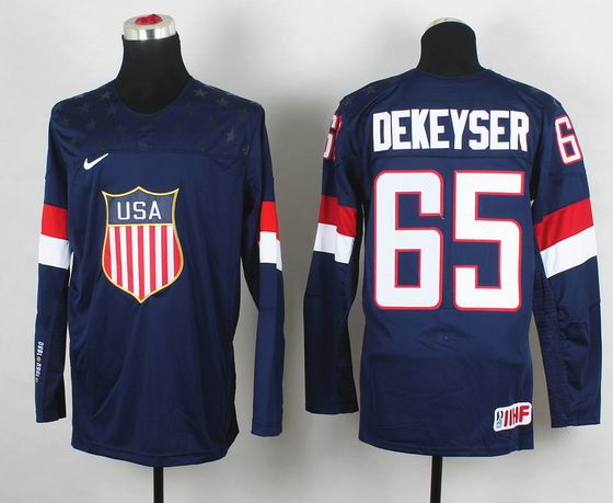 2014 IIHF Ice Hockey World Championship jersey 65 Dekeyser blue