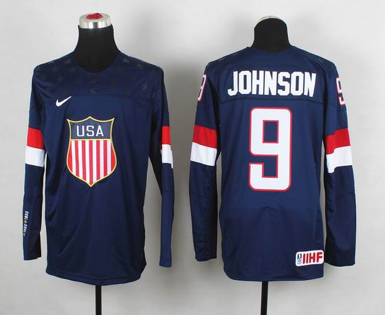 2014 IIHF Ice Hockey World Championship jersey 9# Johnson blue