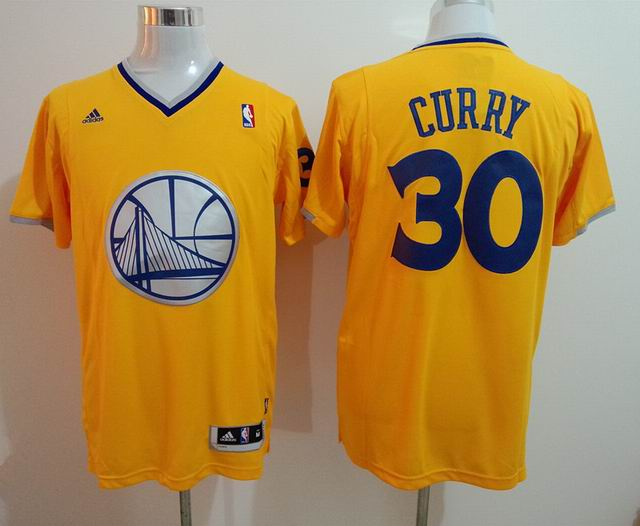 2014 NBA Golden State Warriors 30 curry yellow christmas day jersey