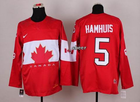 2014 NHL Winter Olympic Team Canada #5 Hamhuis Red Jersey