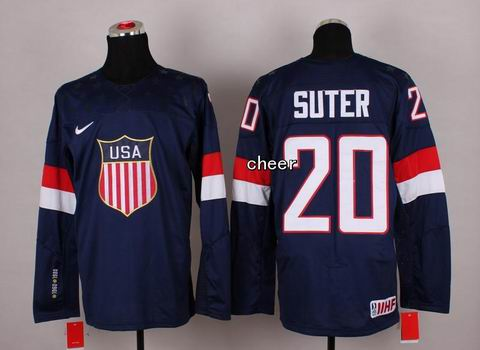2014 Winter Olympic NHL Team USA Hockey Jersey #20 Suter Blue