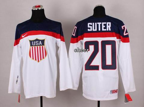2014 Winter Olympic NHL Team USA Hockey Jersey #20 Suter White