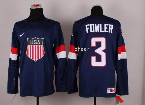 2014 Winter Olympic NHL Team USA Hockey Jersey #3 Fowler Blue
