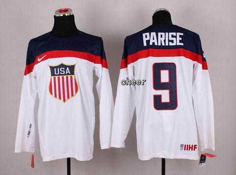 2014 Winter Olympic NHL Team USA Hockey Jersey #9 Parise White