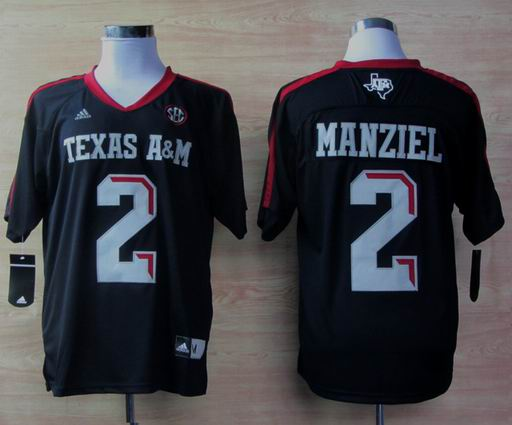 Addidas Texas A&M Aggies Johnny Manziel 2 Football Techfit NCAA Jerseys - Black