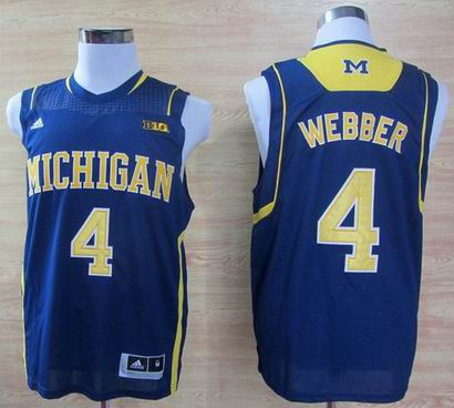 Adidas Michigan Wolverines Chirs Webber 4 Basketball Authentic Jerseys - Blue