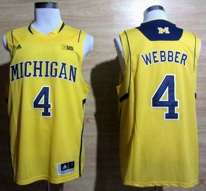 Adidas Michigan Wolverines Chirs Webber 4 Basketball Authentic Jerseys - Yellow