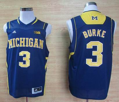 Adidas Michigan Wolverines Trey Burke 3 Big 10 Patch Basketball Authentic Jerseys - Blue