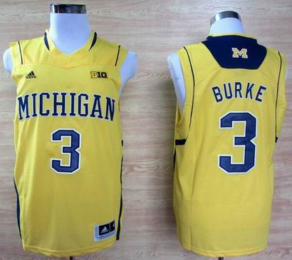 Adidas Michigan Wolverines Trey Burke 3 Big 10 Patch Basketball Authentic Jerseys - Yellow