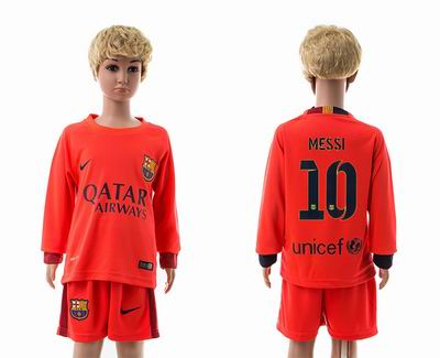 Barcelona away long sleeve kids 10#