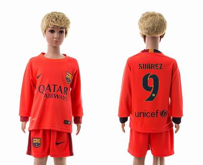 Barcelona away long sleeve kids 9#