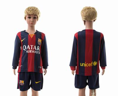 Barcelona home long sleeve kids