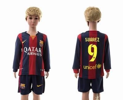 Barcelona home long sleeve kids 9#