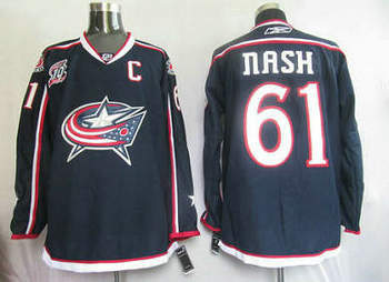 Columbus Blue Jackets 61 Rick Nash Jersey Dark Blue With 10th Patch