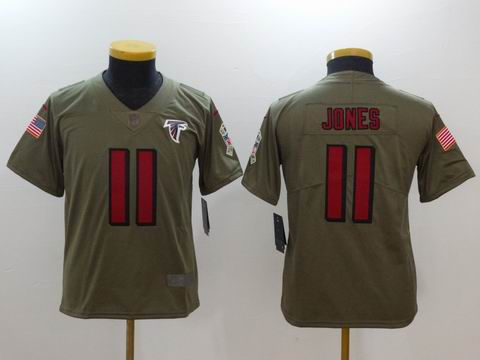 Kids nike nfl falcons #11 JONES Olive Salute To Service Limited Jersey