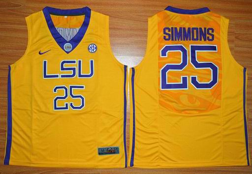 LSU Tigers Ben Simmons 25 NCAA Basketball Elite Jersey - Gold