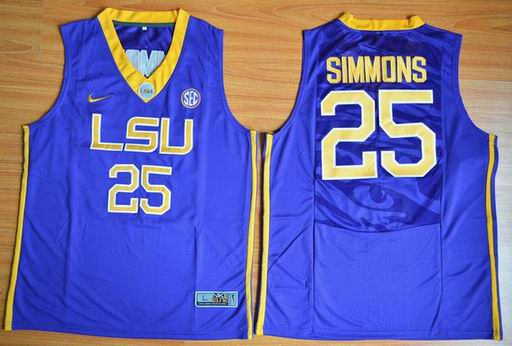 LSU Tigers Ben Simmons 25 NCAA Basketball Elite Jersey - Purple