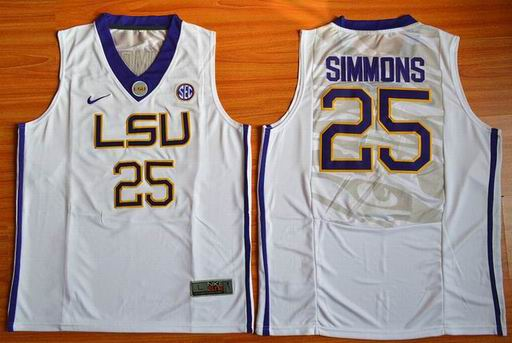 LSU Tigers Ben Simmons 25 NCAA Basketball Elite Jersey - White