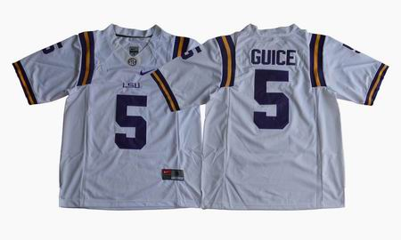 LSU Tigers Derrius Guice #5 College Football Jersey White