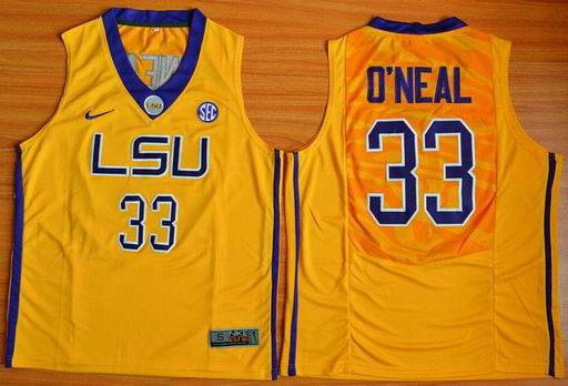 LSU Tigers Shaquille O'Neal 33 NCAA Basketball Elite Jersey - Gold