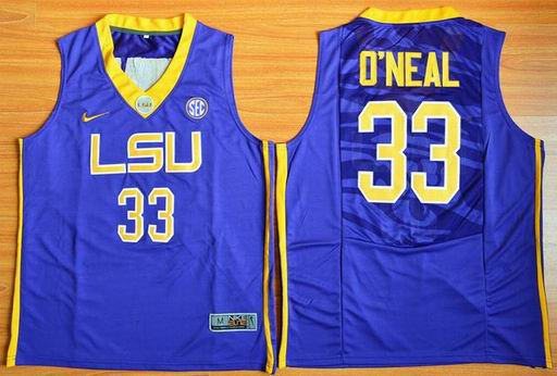 LSU Tigers Shaquille O'Neal 33 NCAA Basketball Elite Jersey - Purple