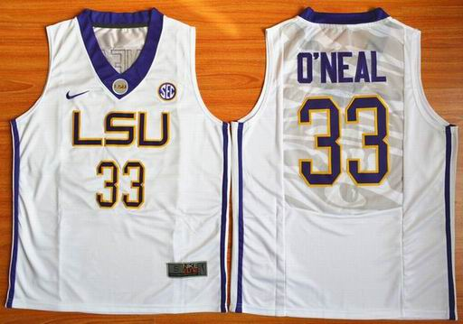 LSU Tigers Shaquille O'Neal 33 NCAA Basketball Elite Jersey - White