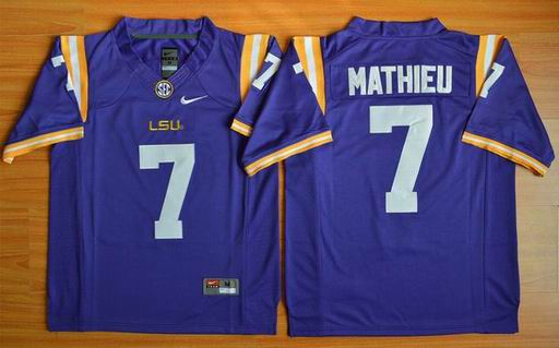 LSU Tigers Tryann Mathieu 7 NCAA Football Jersey - Purple