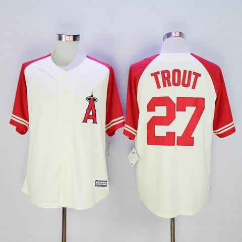 MLB Angels #27 Trout white jersey