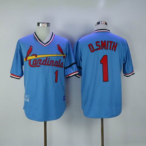 MLB Cardinals #1 O.Smith blue throwback jersey