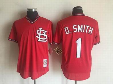 MLB Cardinals #1 O.Smith red m&n jersey