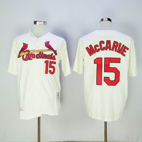 MLB Cardinals #15 McCARVE rice white throwback jersey
