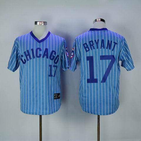 MLB Chicago Cubs #17 Bryant blue white strip jersey