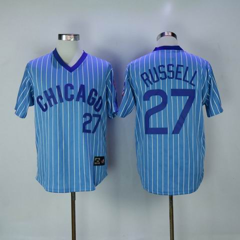 MLB Chicago Cubs #27 Russell blue white strip jersey
