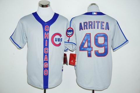 MLB Chicago Cubs #49 Jake Arrieta grey jersey