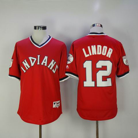 MLB Cleveland Indians #12 Francisco Lindor red jersey