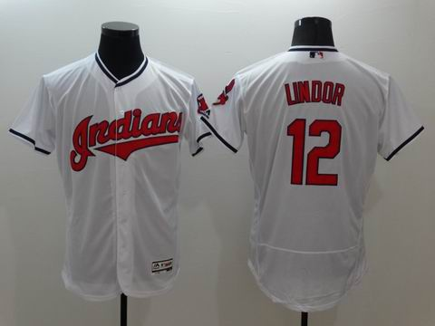 MLB Cleveland Indians #12 Francisco Lindor white flex base jersey