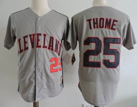MLB Cleveland Indians #25 Jim Thome grey m&n jersey