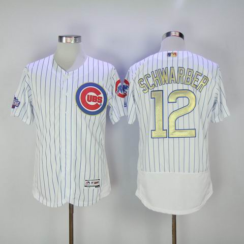 MLB Cubs #12 Schwarber white 2016 Champions flexbase jersey