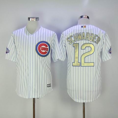MLB Cubs #12 Schwarber white 2016 Champions jersey