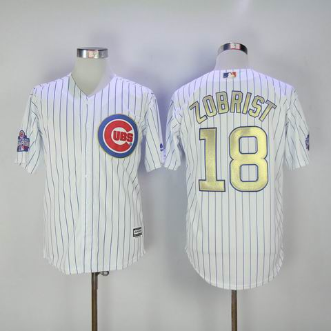 MLB Cubs #18 Zobrist white 2016 Champions jersey