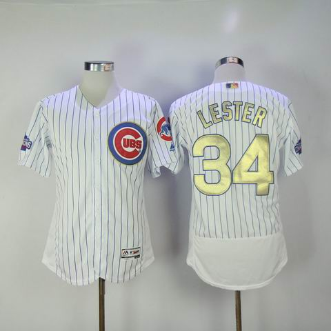 MLB Cubs #34 Lester white 2016 Champions flexbase jersey