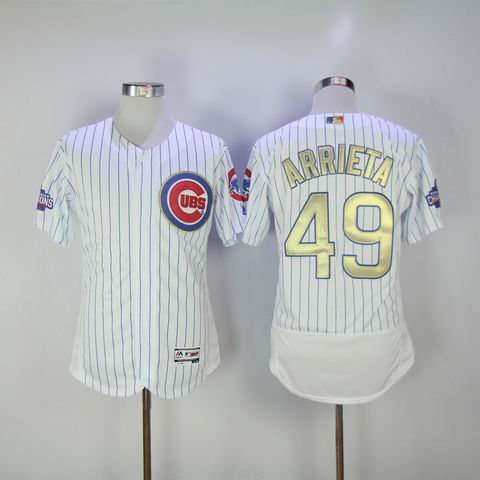 MLB Cubs #49 Arrieta white 2016 Champions jersey