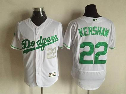 MLB Dodgers #22 Clayton Kershaw white green flex base jersey