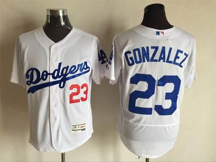 MLB Dodgers #23 Adrian Gonzalez white flex base jersey