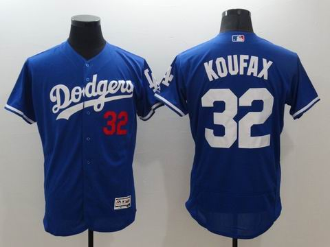 MLB Dodgers #32 Sandy Koufax blue flexbase jersey