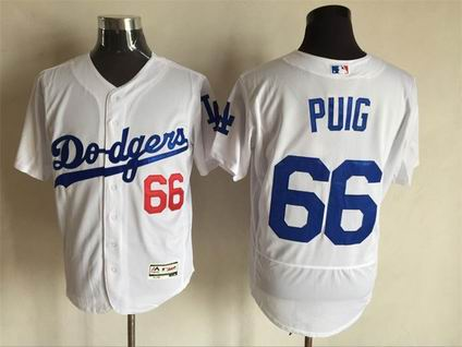MLB Dodgers #66 Yasiel Puig white flex base jersey