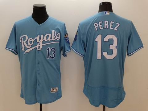 MLB Kansas City Royals #13 Salvador Perez light blue flexbase jersey